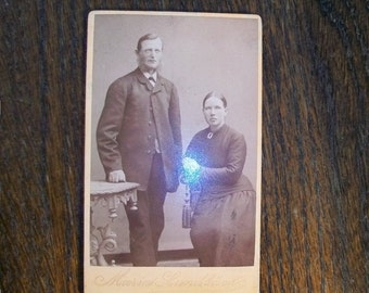 Vintage 1800s Photograph Husband and Wife From Norway 4 x 2.5
