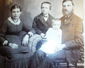 Vintage Photograph Victorian Family Portrait 1800s Cabinet Card