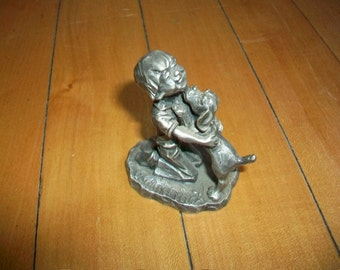 Vintage Pewter Figurine A Boy and His Dog 1979 Little Gallery I Wuff You