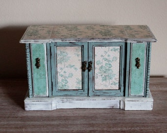 SALE 15% OFF Large Shabby Chic Duck Egg Blue Vintage Jewelry Box