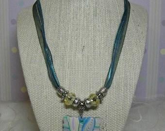 Necklace: Rainbow Swirl Polymer Clay Pendant
