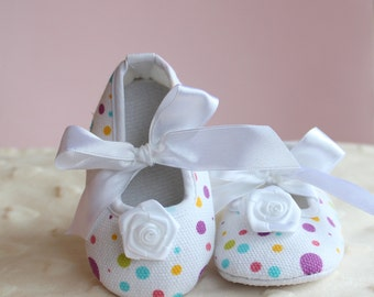 Polka Dot Mary Janes with White Satin Ribbon Bow Tie Crib Shoes, Purple Polkadots Baby Shoes for Spring, Booties - BABY GIRL Gift