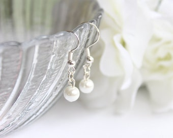 Pearl Drop Earrings, Dangle Earrings, Flower girl, Bridal Jewelry, White or Ivory Pearls for Flower Girl Gift -- FREE Gift Packaging