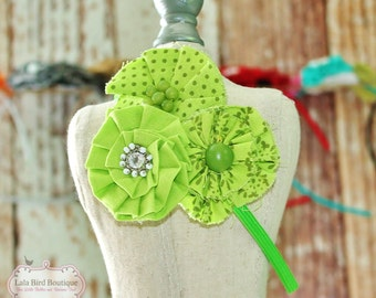 Lime Green Fabric Flower Headband - Child, Toddler, Girl, Little Girl - READY TO SHIP