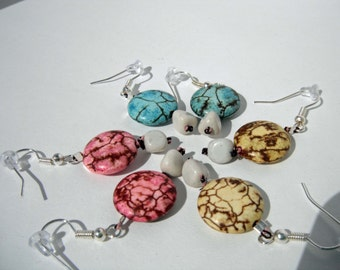 Pastel Crackle looking Round Flat Bead Hand Knotted with a White Triangular Bead Dangle