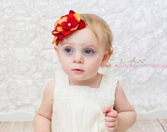 Gabriela- Red & Orange Flowers Headband