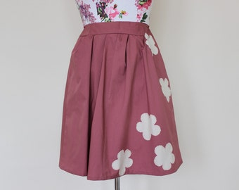 """CLEAR OUT !!! Dusty pink handmade high-waisted skirt with applique flowers UK size 8 waist 26"""""""