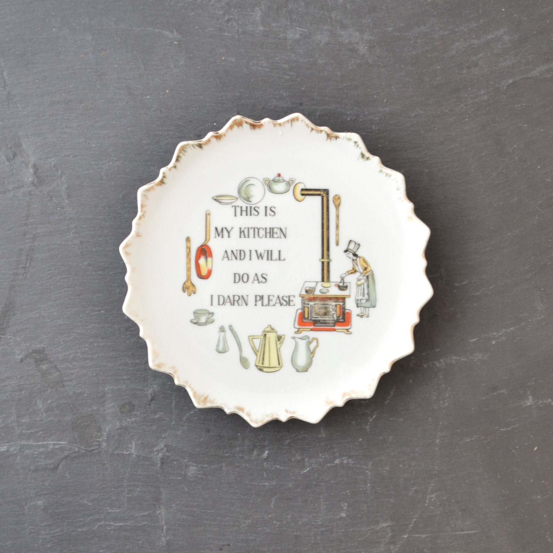 Kitsch Plate Vintage Decorative Plate Kitchen Plate