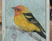 Vintage Bird Print, Bird Art, Home Decor,Cottage Style Shabby Aqua Frame, Repurposed Antique Hardware