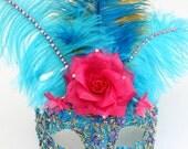 Unique Luxury Blue, Pink Feather Venetian Masquerade Mask