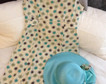 Timeless Vintage Rayon Dress by Shok in Turquoise Chocoloate Gray and Lime Size 7