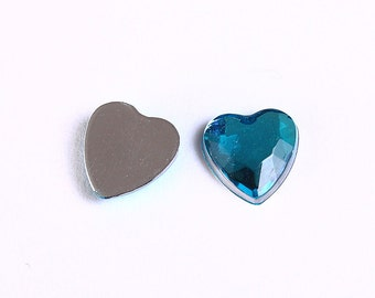 Dollar Sale Clearance - 10 blue faceted resin heart cab cabochon with Silver Foil 8mm 10pcs (965)