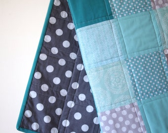 Baby Quilt--Beautiful Blues and Grays