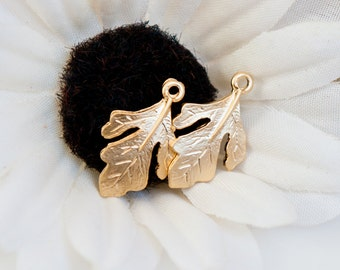 STORE CLOSING! ST130 - Matte Gold Plated Fig Leaf Charms - Set of 2