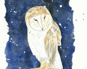 Giclee Art Print, Owl Watercolor Painting, Blue Painting, Night Sky, Starry Night, Barn Owl