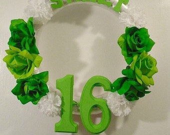 Sweet Sixteen (16) Birthday Wreath, Sweet 16 Decoration, Party Announcement