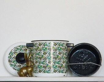 Mod Enamel Pot Lid Basket Steamer Cookware Retro Midcentury Madmen Mad Men Boho Groovy Modern 60's Floral AQUA Lime Complete