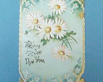 Lovely Edwardian Era Card With Embossed Design of Daisies on Aqua