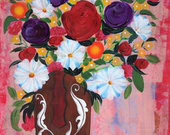 Flowers in Boot ACRYLIC on CANVAS