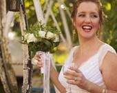 Gefen Boho Wedding Dress Ivory Vintage Lace Low Back Capped Sleeves
