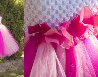 Magenta and pink Hydrangea sash Dress