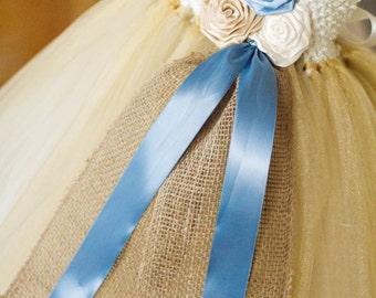 Vintage Blue and Champagne Burlap Tutu Dress