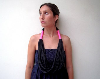 the tribal neon necklace - handmade in charcoal and neon fabric