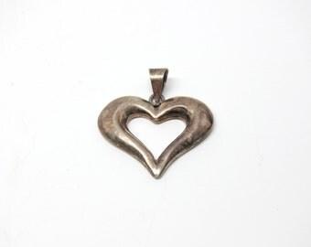 Vintage Heart Pendant Sterling Silver Open Heart 1980s