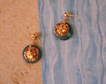 Pierced Earrings Gold Metal Sand Dollar and Mother-of-Pearl Disks