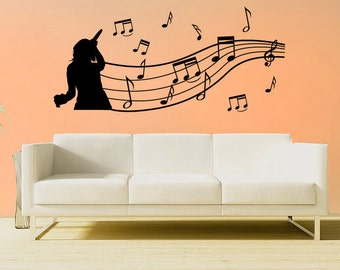 Singer with music notes wall decal
