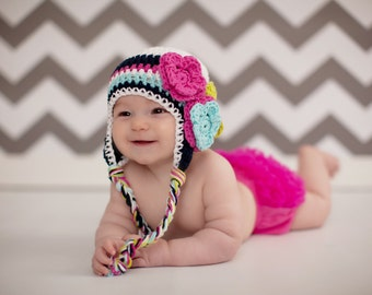Crochet baby hat, baby hat, baby girl hat, crochet kids hat, hat with flower, pink and gray hat