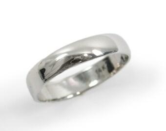 Classic wedding ring. White gold wedding ring. Classic gold wedding ring. 4mm rounded wedding ring. 14k white gold wedding band(gr9294-1447)