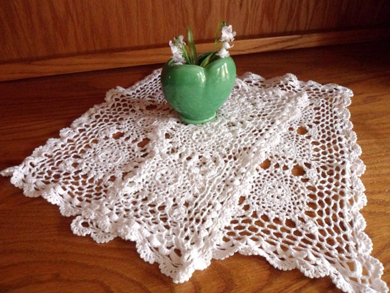 Two Lace Placemats, White Hand Crocheted Placemats 16 x 10, Handmade Place Mats