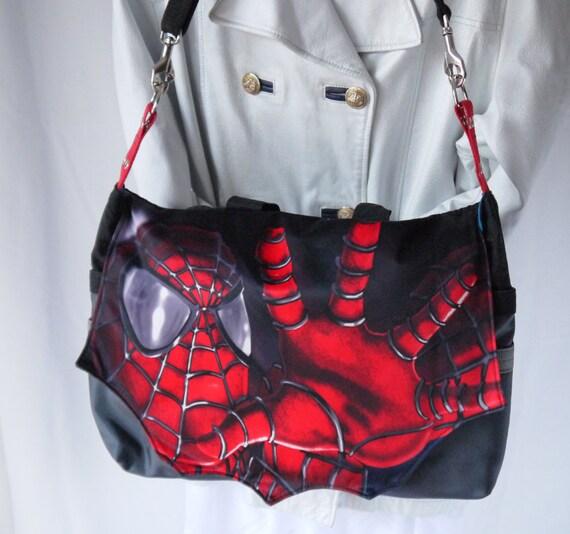 Spiderman Messenger Large Unisex Spidey Repurposed Bag Again