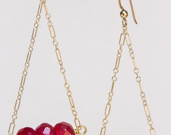 3 Faceted Rubies and Gold-Filled Chain earrings
