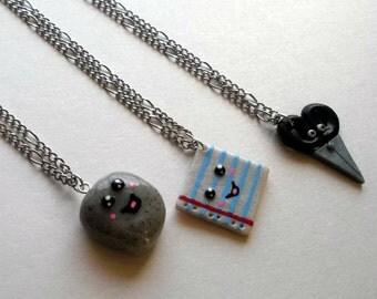 Rock Paper Scissors 3 Piece Best Friend Necklace Set