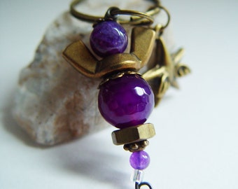 Purple Passion Beaded Antique Bronze Wingnut Star with Wings Angel Charm Keychain