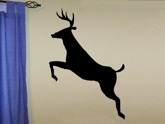 Wall decal leaping deer silhouette man cave hunting decal home decor nature outdoors decal men decal living room camp decor deer vinyl decal