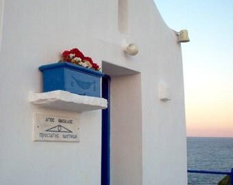Blue white summer, travel photo print, summer photo, Greece , mediterranean, small white greek church, Saint Nicolas