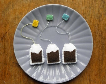 3 Lovely Felt Teabags