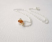 Orange Crystal Necklace, Sterling Silver Necklace - Tiny Framed Solitaire Link, Bridesmaids Matching - Topaz November Birthstone - Swarovski