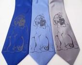 Pug Dog screen printed Necktie Man's Best Friend Tie