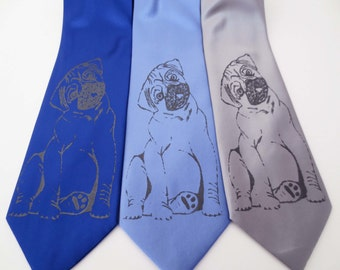 Pug Dog screen printed Necktie Man's Best Friend Tie
