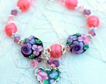 Bracelet, Broken China Jewelry, Broken China Bracelet, Heart Charms, Handmade Lampwork Beads, Black Floral Chintz, Sterling Silver