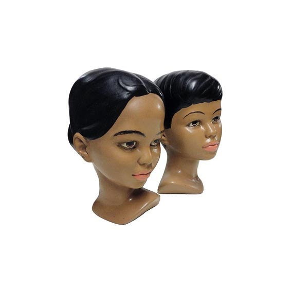 SALE Vintage Ceramic Busts - Hawaiian Boy & Girl Head Chalkware Polynesian Heads