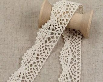 2 Yards Lace Trims 2cm Wide,Bow,Pure Beige Color,Cotton(GL35)