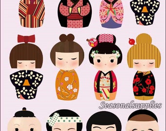 5.5cm high,Plastic Flocking Tape Sticker, DIY Cloth Art Manual Cloth Decoden Figure Hot Plated Backing Painting-Japaness Doll (ST39)