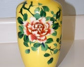Reserved for Kristen - Two Yellow Cloisonne Vases with Floral Design