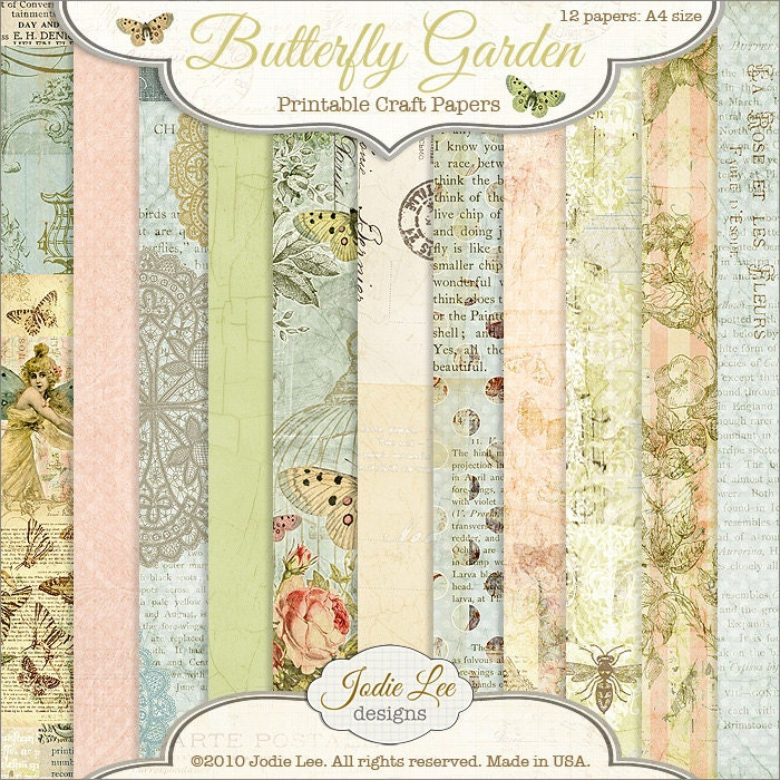 Butterfly garden 12 printable scrapbook papers set by for Landscape design paper