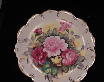 Plate Hand Painted with Roses and Gold Trim Pink Flowers